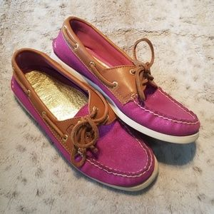 Sperry Sparkly Pink and Tan Top-Siders Size 8